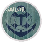 Blue Nautical-jp3614 Round Beach Towel