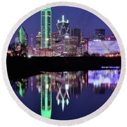 Blue Night And Reflections In Dallas Round Beach Towel
