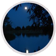 Blue Night Moon And Reflection Round Beach Towel