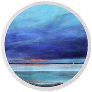 Blue Night Sail Round Beach Towel by Toni Grote