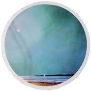 Blue Night Sky Round Beach Towel