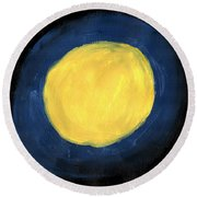 Blue Night Sun Round Beach Towel
