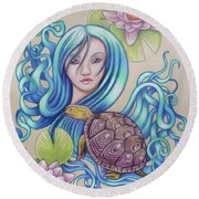 Blue Nova Round Beach Towel