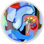Blue Nude With Tulips Round Beach Towel