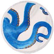 Blue Octopus Round Beach Towel