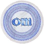 Blue Om Mandala Round Beach Towel