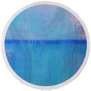 Blue On Blue Round Beach Towel