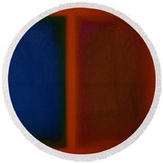 Blue On Orange Round Beach Towel