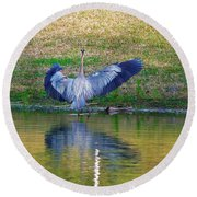 Blue On The Bank Round Beach Towel
