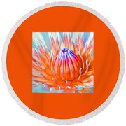 Blue Orange Lily Round Beach Towel