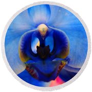 Blue Orchid Heart Round Beach Towel
