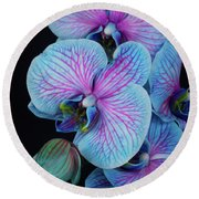 Blue Orchid On Black Round Beach Towel
