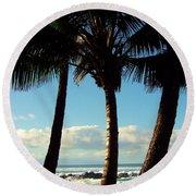 Blue Palms Round Beach Towel by Karen Wiles