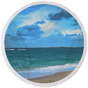 Blue Paradise, Scenic Ocean View From The Bahamas Round Beach Towel