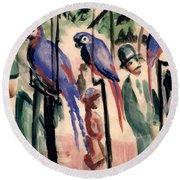 Blue Parrots Round Beach Towel