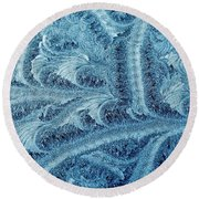 Extraordinary Hoarfrost Scallop Patterns In Blue Round Beach Towel
