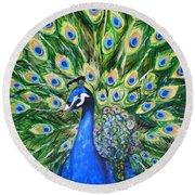 Blue Peacock Round Beach Towel