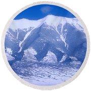 Blue Peaks Round Beach Towel