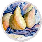 Blue Pears Round Beach Towel