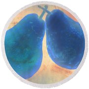 Blue Pears On Soft Peach Round Beach Towel