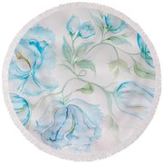 Blue Peonies Round Beach Towel