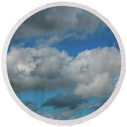 Blue Perfect Sky Sea Of Clouds From High Altitude Space Round Beach Towel