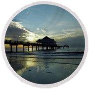 Blue Pier 60 Sunset Round Beach Towel
