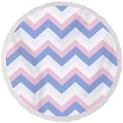 Blue Pink Chevron Pattern Round Beach Towel