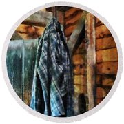 Blue Plaid Jacket In Cabin Round Beach Towel by Susan Savad