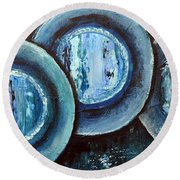 Blue Plate Special Round Beach Towel