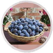 Blue Plums In A Basket Round Beach Towel