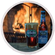 Blue Point Winter Ale By The Fire Round Beach Towel
