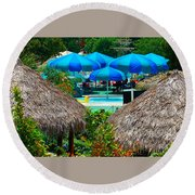 Blue Pool Umbrellas Round Beach Towel