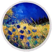 Blue Poppies 459070 Round Beach Towel
