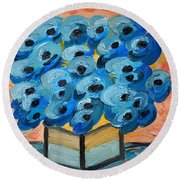 Blue Poppies In Square Vase  Round Beach Towel