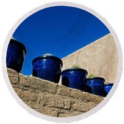 Blue Pottery On Wall Round Beach Towel