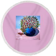 Blue Pottery With Flowers Round Beach Towel