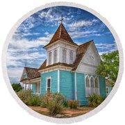 Blue Prairie Church Round Beach Towel