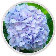 Blue Purple Hydrandea Floral Art Botanical Prints Canvas Round Beach Towel