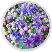 Blue Purple Hydrangea Flower Macro Art Round Beach Towel