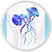 Blue Purple Jellyfish Artwork Design Round Beach Towel