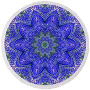 Blue Purple Lavender Floral Kaleidoscope Wall Art Print Round Beach Towel