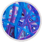 Blue Purple Paths  Round Beach Towel