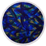 Blue Pyramid Round Beach Towel