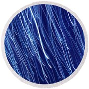 Blue Rain Abstract Round Beach Towel