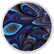 Blue Red Folds Round Beach Towel