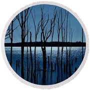 Blue Reservoir - Manasquan Reservoir Round Beach Towel