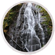 Blue Ridge Parkway Crabtree Falls In Autumn Round Beach Towel