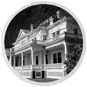 Blue Ridge Parkway Flat Top Manor Bw Round Beach Towel