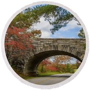 Blue Ridge Parkway Stone Arch Bridge Round Beach Towel